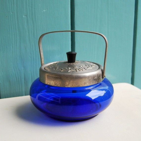 Vintage Sugar Bowl in Cobalt Blue Glass with Silver Tone Metal Lid and Handle from Russia / Soviet Union