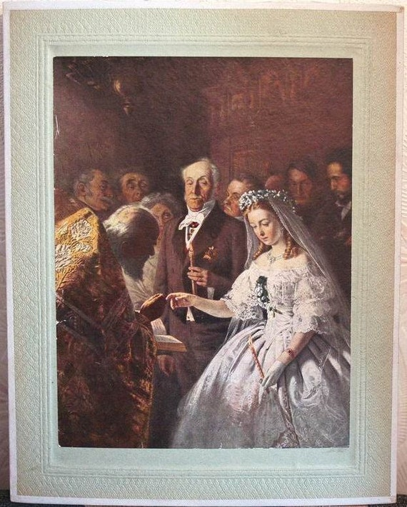 Rare Collectible Reproduction Print - Misalliance - An Unequal Marriage - by Vasily Pukirev - 1947 - from Russia / Soviet Union / USSR