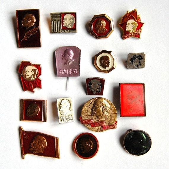 Set of 16 Soviet Vintage Badges / Pins - Lenin - Communist Propaganda - 1980s - from Russia / USSR / Soviet Union