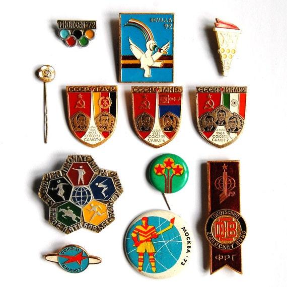 Soviet Vintage Space Sport Olympics Badges / Pins - Set of 12 - Sputnik Sports Ice Hockey Football - from Russia / USSR / Soviet Union