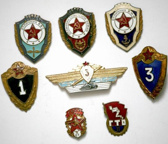 Russian Soviet Badges / Pins / Awards / Orders - Set of 8 - Soviet Army, Navy and Aviation Insignia - from Russia / Soviet Union / USSR