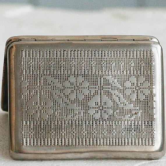 Vintage Cigarette Case / Business Card Holder / Metal Wallet - Embroidery Pattern / Embroidered Ornament - from Russia / Soviet Union / USSR