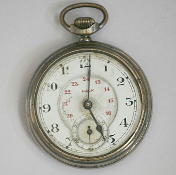 """Vintage Mechanical Mens Pocket Watch """"HALK"""" - Not Working - Spares Repairs - Engine Turned / Machined Stripes Pattern -"""
