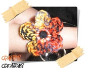 Halloween or Fall Crocheted Flower Bling Ring RESERVED FOR HELEN YOUNG