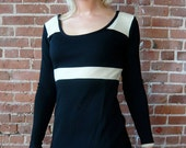 Vtg Black and White Mod Bodycon Sheath Dress SALE