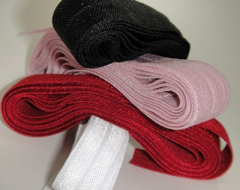 Fold Over Elastic FOE 8 yard pack White black red and pink
