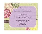 Bridal shower  printable digital invitation, vintage style, baby shower, birthday 88FM