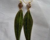 Jungle Goddess Shimmering Exotic Leaf Earrings