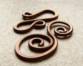 Antiqued Copper Hook and Spiral Clasp, Solid Copper Findings, Set Of Four