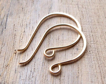 Four Pair Rounded 14k gold filled ear wires, Rose gold filled findings