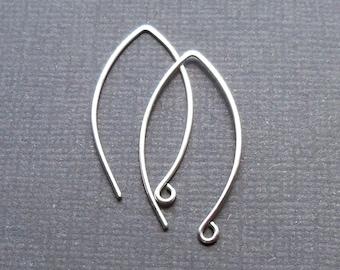 Long sterling silver ear wires, Leaf shaped, Long silver ear hook, earring findings