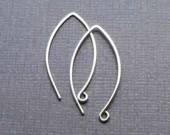 Two pair, Sterling silver ear wires, leaf shape, long ear hook
