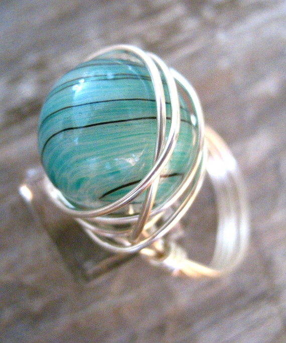 Teal Green Swirl Wire Wrapped Ring- size 7