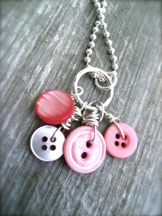 Valentines Pink Button Necklace- Vintage Repurposed