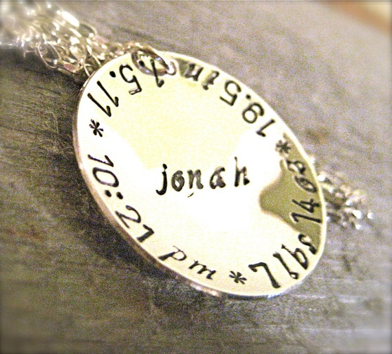 New Mommy Necklace- New Baby Gift for Mother- Hand Stamped Jewelry- Personalized -Gifts Under 50