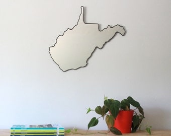 West Virginia Mirror / Wall Mirror State Outline Silhouette Map WV Huntington Charleston WVU Marshall University Herd Mountaineers