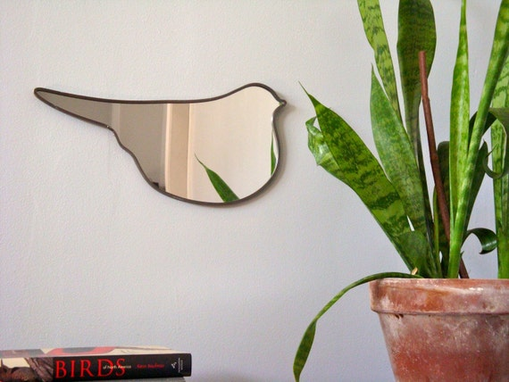 Bird Mirror No. 2 / Handmade Wall Mirror Bird Shape Silhouette Outline Mirror
