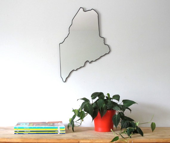 Maine Mirror / Wall Mirror State Outline Silhouette ME Wall Art Shape Accent