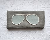 Glasses Case - Grey and Pale Seafoam