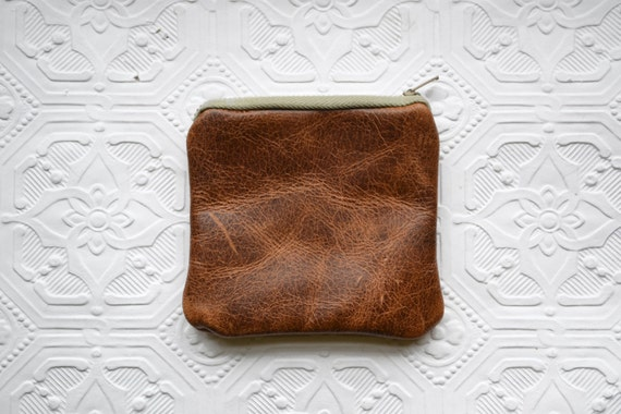 Mini Leather Pouch - Tobacco and Greige