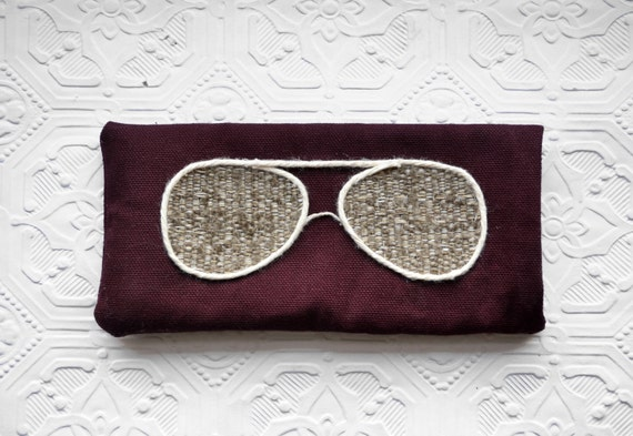 Glasses Case - Wine and Greige