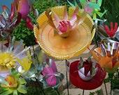 Recycled Plastic Garden Flowers, indoor or outdoor use, Garden Stake, photo props
