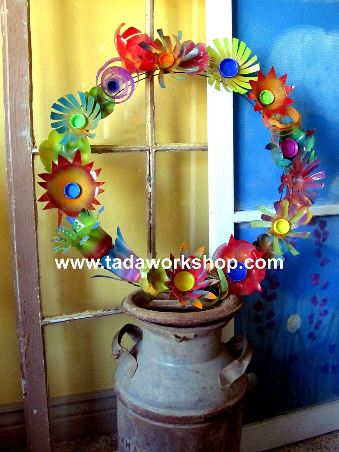 Upcycled Flower Wreath Made From Recycled Plastic By