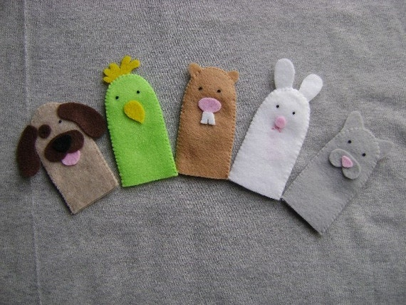 Finger Puppets, Pets, Includes a Dog, Bird, Hamster, Bunny Rabbit and Cat
