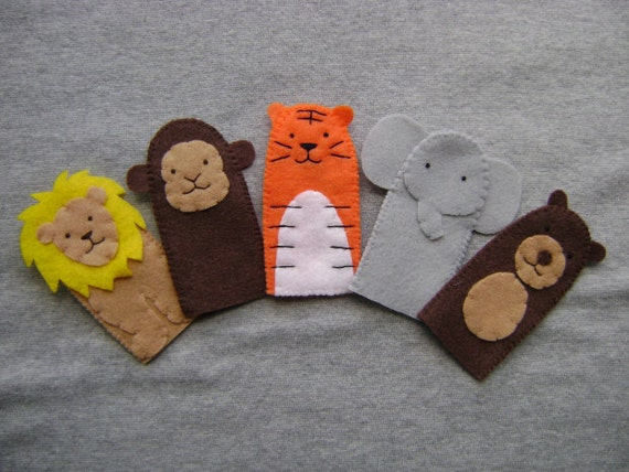 Finger Puppets Felt Zoo or Jungle Animal Set of Five, Includes a Lion, Monkey, Tiger, Elephant and Bear