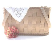 RESERVED Vintage Picnic Basket Wooden with Lace Runner Excellent ConditionTREASURY ITEM