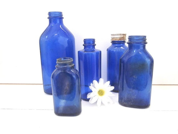 Vintage Glass Bottles Blue