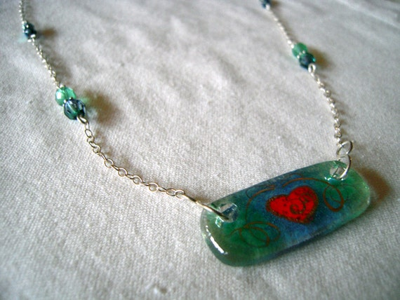 """Necklace - Vintage beads - blue, green, red - Hand Painted gold heart art glass, sterling silver chain, 17"""" - 19"""" long"""