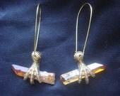 Talon Claw Titanium Quartz Crystal Point Earrings