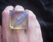 Glowing Geometric Pyramid Crystal Ring