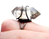 Black and White Crystal Point Ring