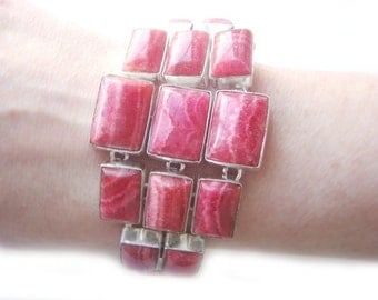 One of a Kind Pink Rhodochrosite Silver Bracelet