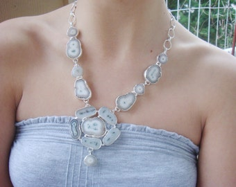 One of a Kind Solar Quartz Couture Statement Necklace