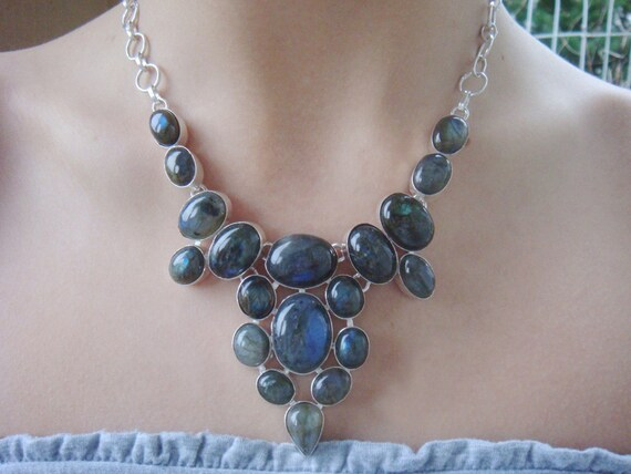 One of a Kind One of a Kind Polished Labradorite Couture Statement Necklace
