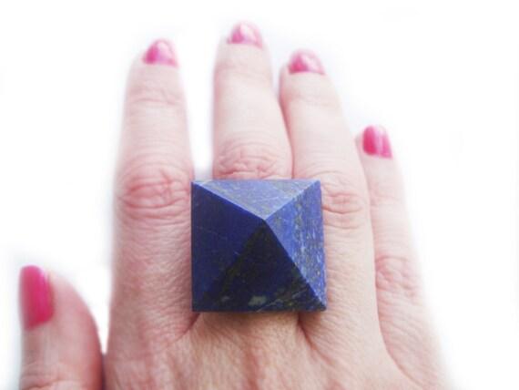 Blue Lapis Lazuli Pyramid Ring