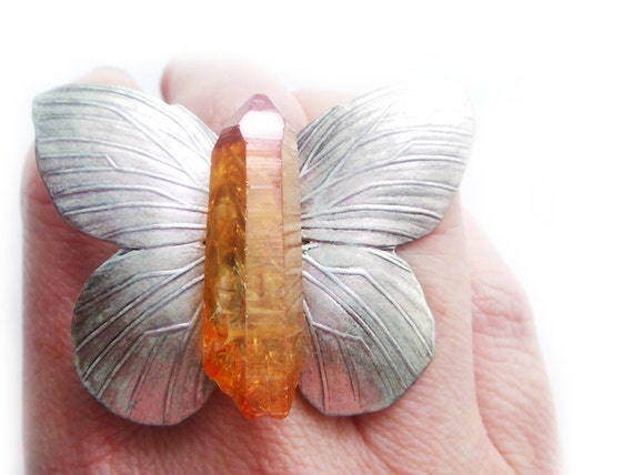 RESERVED Titanium Crystal Butterfly Ring
