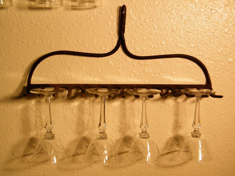 Metal Wine Glass Holder: Rake Head / Wine Glass Rack By Assemblage333 On Etsy