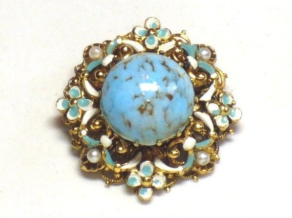 1950s Turquoise Brooch w Seed Pearls and Enameling