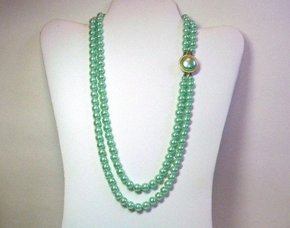 2 Strand Necklace with Mint Green Pearl Beads