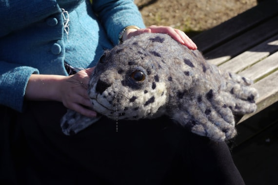 Baby Spotted SEAL  -- Needle Felted Wool -- Life sized