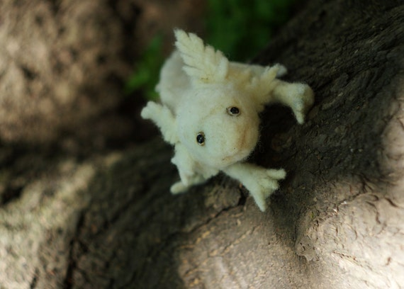 RESERVED Needle felted white AXOLOTL sculpture with realistic eyes.