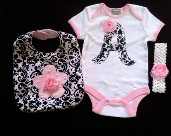 Personalized Baby Girl Gift Set 3 pc bodysuit with Initial, Bib, headband in beautiful Damask and baby pink minky dot fabric FREE SHIPPING