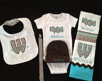 Personalized Baby Boy Infant Newborn Homecoming Airplane gift bodysuit hat 2 burp cloth bib passifier clip