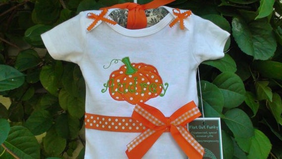 Personalized Halloween-Harvest-Thanksgiving onesie(long/short slvs) and headband for your pumpkin