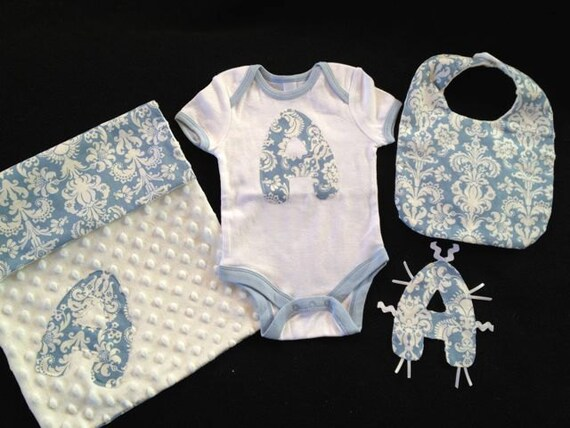 Personalized Baby Boy Gift Set, 4 pc. Onesie with Damask Initial, letter toy with tags, Bib, Burpie in baby blue Damask and white Minky Dot