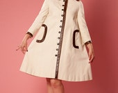 Vintage 1960s Pierre Cardin Coat Modern Cream Canvas Brown Snap Front Leather Trim Trapeze
